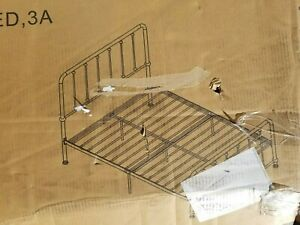 Homelgance Full Size Spindle Metal Platform Bed, Antique Brown