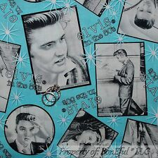 BonEful Fabric FQ Cotton Quilt Aqua B&W Black VTG Elvis Presley Music Star Block