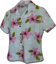 Ladies Fitted Hawaiian Camp Shirts Plumerias 348-3551 NEW Made in Hawaii. U.S.A.