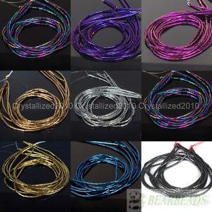 "Hematite Gemstone 2mm x 4mm Tube Beads Metallic Silver Gold Blue Purple 16"""