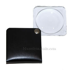 3.5X Eschenbach Leather Folding Square Pocket Magnifier - 60 mm Black