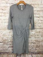 Anthropologie Amadi Black White Striped Jersey Knit Knot Stretch Dress Small