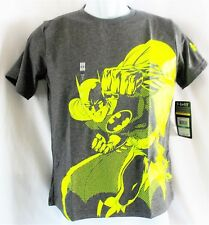 Under Armour Boys Batman Tee Shirt Heat Gear Loose Fit Sz Youth L Grey/Green NWT