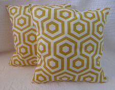 "16"" Cushion Cover Yellow Mustard Saffron Cream Cotton Print Handmade New 40cm"