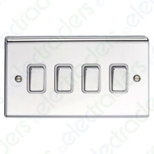 Deta SD1244CHW - 4 Gang 2 Way Switch - Chrome White - Slimline Decor