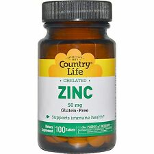 Zinc, Quelatado, 50 MG, 100 Tabletas-Country Life