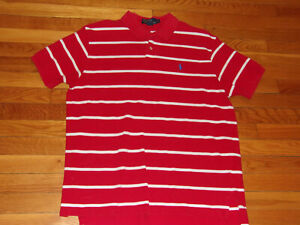 RALPH LAUREN SHORT SLEEVE RED/WHITE POLO SHIRT MENS XL EXCELLENT CONDITION