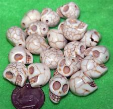 20 New Skull Beads WhiteTurquoise Apocalypse Zombie Steampunk Walking Dead Plant