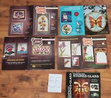 lot GREAT stained GLASS pattern butterfly owl flowers sailboat Hot Air balloon