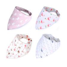4Pcs Cotton Baby Bibs Newborn Feeding Nursing Bandana Burp Cloths Baby Scarf