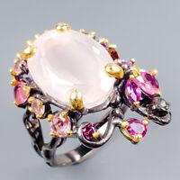 Vintage20ct+ Natural Rose Quartz 925 Sterling Silver Ring Size 9.25/R121070