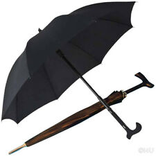 UMBRELLA 16 RIBS STICK THE WALKING STICK – BLACK RAIN FULL COVER - HEAVY DUTY