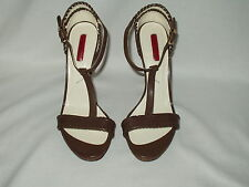 CESARE PACIOTTI Brown w/ weave Stiletto Strappy HEELS Italy Size EU 40 NEW