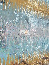 MOON SHADOW SEQUIN FABRIC - Multi-Color Blue - BY THE YARD DRESS APPAREL MERMAID