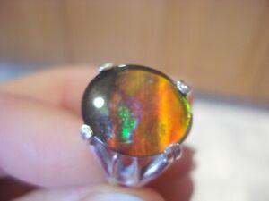 Handmade Bespoke 15mm x 12mm Sterling Silver Ammolite Ring