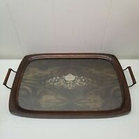 Vintage Wood Serving Tray With Handles Plastic Platter TV Lap Ornate Home Decor