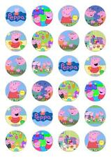 24 Peppa Pig Cupcake Fairy Cake Topper Edible Paper cake decoration toppers