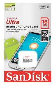 3 x Sandisk Ultra 16GB Micro SDHC Class 10 UHS-I Memory card - Retail packed