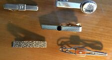 LOT OF FIVE 5 Men's Tie Clasps ~ Costume Jewelry ~  Silver-tone and  Gold-tone