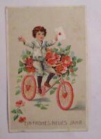 Neujahr, Kinder, Fahrrad, Brief, Blumen, 1907 ♥ (40540)