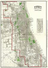 MAP ANTIQUE 1897 RAND McNALLY CHICAGO CITY PLAN LARGE REPRO POSTER PRINT PAM1997