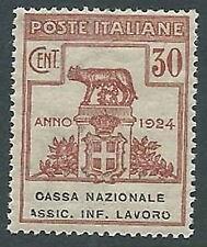 1924 REGNO PARASTATALI CASSA NAZ LAVORO 30 CENT VARIETà A ROTTA MNH ** - M45-9