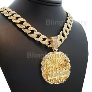 "Hip Hop Last Supper pendant w/ 18"" Full Iced Cuban Choker Chain Necklace Set"