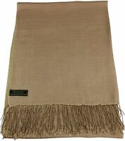 CJ Apparel Beige Solid Colour Design Nepalese Shawl Pashmina Scarf Seconds *NEW*