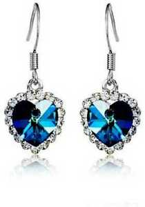 Valentine's Day Special Blue Heart Indian Bollywood Style Earrings Silver Plated