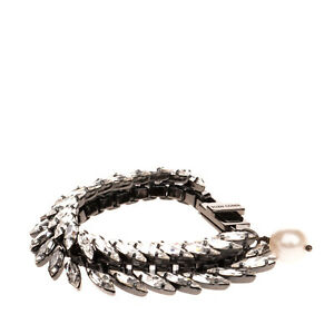 RRP €180 ELLEN CONDE Cuff Bracelet Rhinestones Embellished Faux Pearl Charm