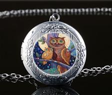 Owl Mother Photo Glass Tibet Silver Chain Locket Pendant Necklace#U37