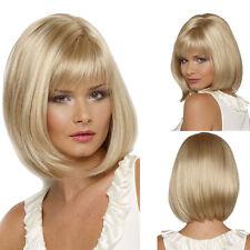 Sexy Women Fashion Medium Blonde Straight Bob Hair Cosplay Daily Party Full Wigs