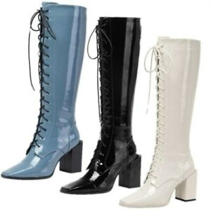 Women Fashion Riding Knight Patent Leather Mid Calf Boots Outdoor Winter Warm L