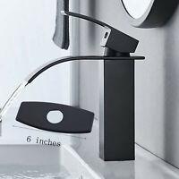 "Matte Black Bathroom Sink Faucet Vanity Waterfall Basin Mixer Taps 6""Cover Plate"