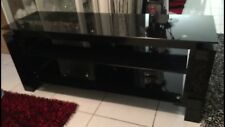 Solid Black TV Unit With Glass Top , Dimensions are 151cm (W) 45cm(D) 60Cm(H)