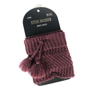 New Steve Madden Burgundy Knit Boot Cuffs with Pom Poms 1 Pair One Size