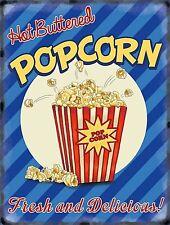 Hot Buttered Popcorn large metal sign 400mm x 300mm (og)