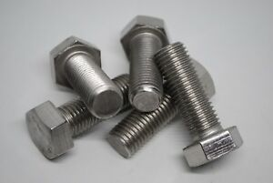 M16 x 45MM Hex Head Stainless Steel Set Screw Pack of 5 Marine Standard A4-80