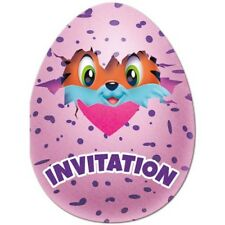HATCHIMALS INVITATIONS (8) ~ Birthday Party Supplies Stationery Cards Notes Pink
