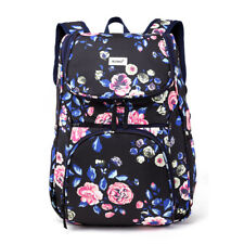 Ladies Girls Oilcloth Flower Backpack Travel Rucksack Laptop School A4 Bag 3pcs Navy