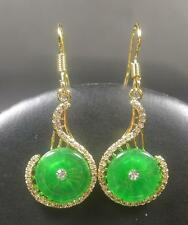Yellow Gold Plate Green JADE Earring Earrings Circle Diamond Imitation 267036 US