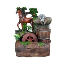 Chestnut Horse Pine Tree Bucket Indoor Tabletop Water Fountain Fall LED Light
