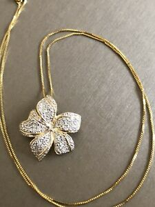 Vintage Large Flower 9ct Yellow Gold Diamond Necklace 0.30ct Pendant & Chain