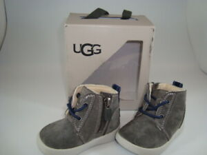 UGG Baby Infants Boots Kristjan Gray Side Zipper Charcoal Sz 2/3M