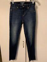 EUC CAT & JACK Super Skinny Dark Denim Wash Girls Jeans Adjustable Waist Size 14