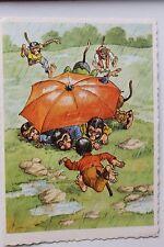 27352 AK Affen im Regen unter Regenschirm um 1940-1950