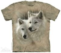 Sunlit Soulmates T-Shirt by The Mountain. White Wolf Wolves Sizes S-5XL NEW