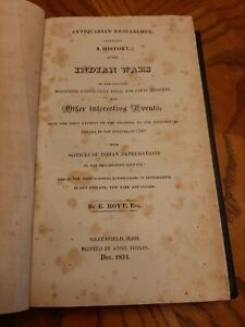 RARE 1824 A History Of The Indian Wars Bordering Connecticut River by E. Hoyt