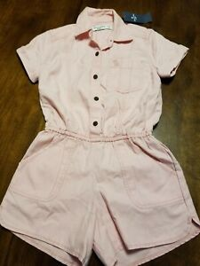 NWT abercrombie kids blush pink jumpsuit romper Cute shorts 5/6 pockets EASTER