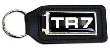 Triumph TR7 Black B/G  Rectangle Black Leather Keyring